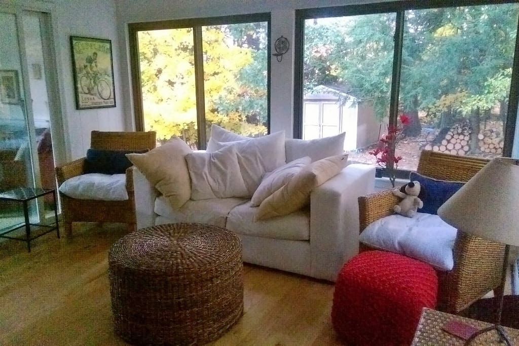 Four season porch, comfy couch. Lots of light.