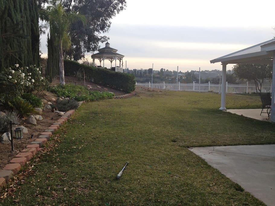 Backyard has a coverd patio and a Gazevo.