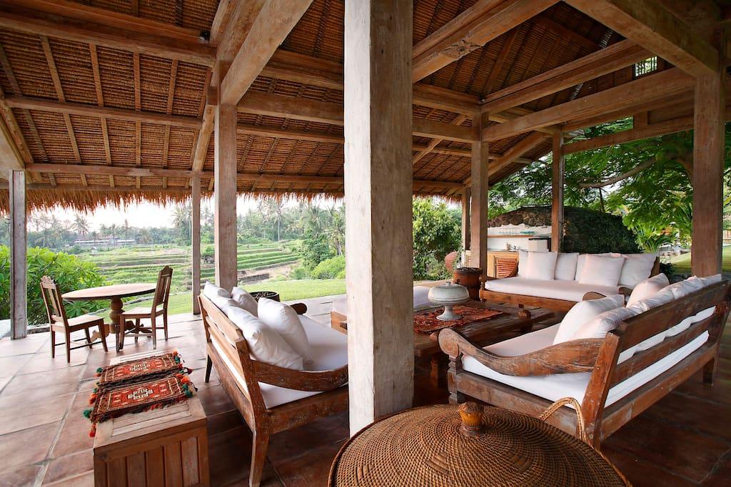 Poolside living room