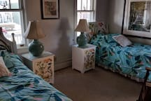 Relax in this twin-bed room, which is part of a beach-view bungalow in scenic and historic Cape May, NJ