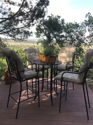Outside space with great views of North Colorado Springs.  Sit out on the deck and have your morning coffee while watching the sunrise or sit out and enjoy the sunset with a glass of wine or your favorite beverage.