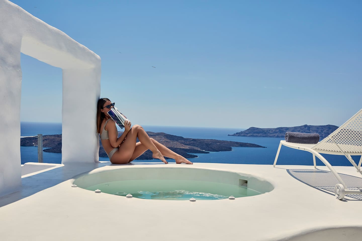 Outdoor Hot Tub, Balcony with volcano and caldera view