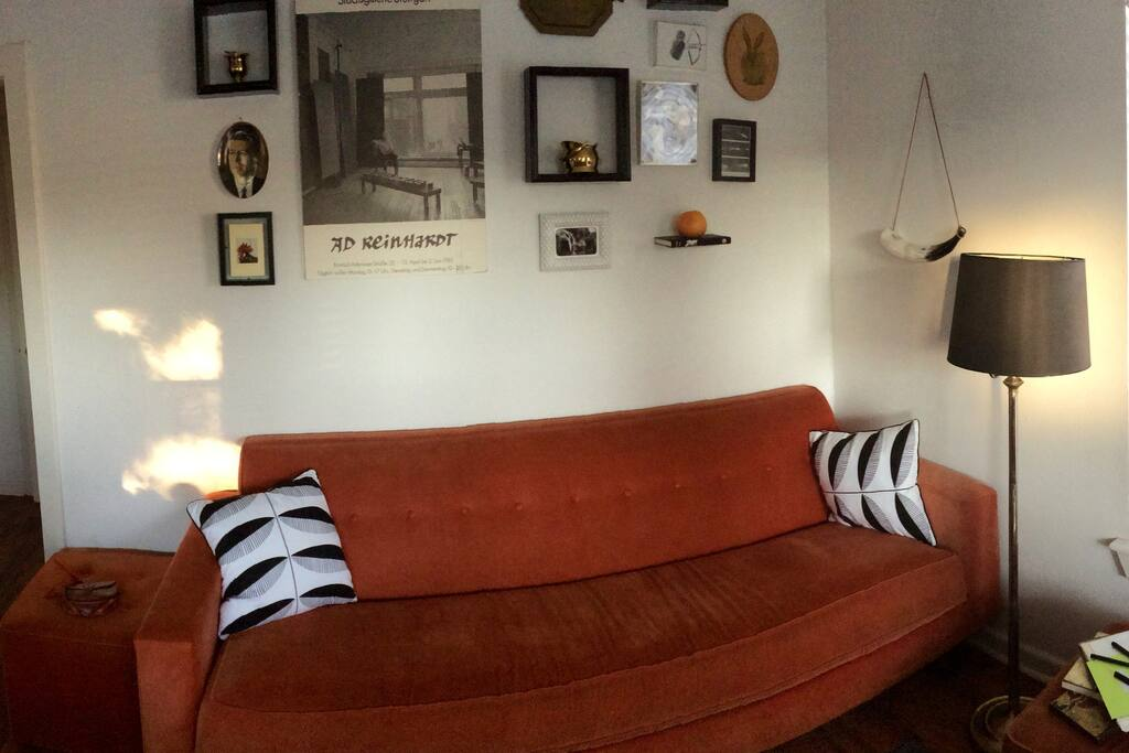 Our couch matches the house - orange and super comfy!