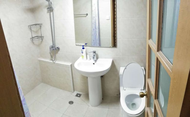 1st bathroom off the living room, new shower system, 2 shower heads!