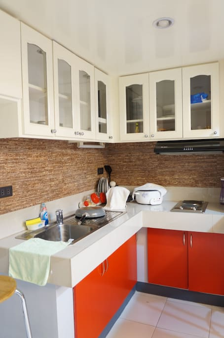 Kitchen with cook top & rice cooker