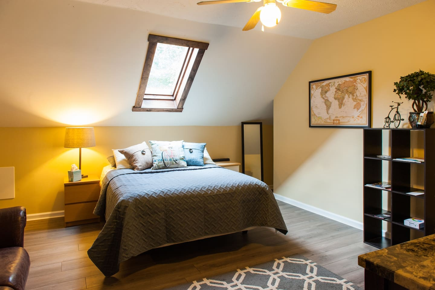 Enjoy a great nights sleep in a comfy queen sized bed! And be sure to pin where you are from on the Travelers Map!