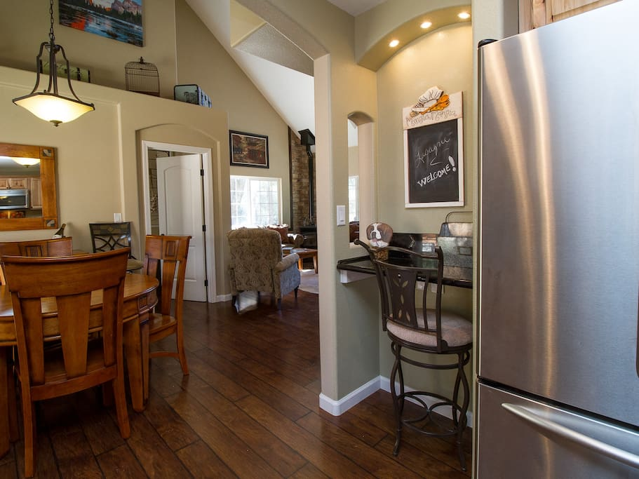 From Kitchen facing indoor dining area with a nook for doing paper work
