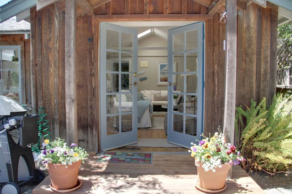 French doors welcome you to the cottage.