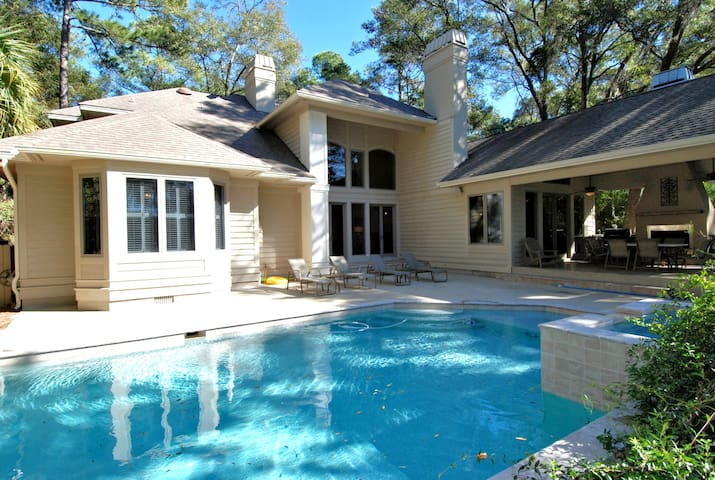Central Sea Pines Home with Private Dock and Pool