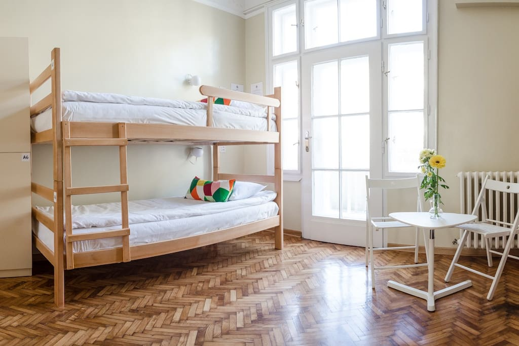 Six bed dormitory with balcony