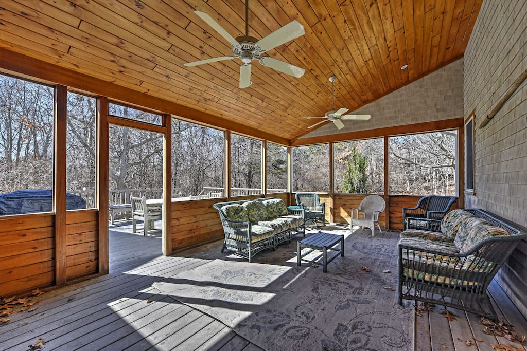 Spend days relaxing on the screened-in porch.