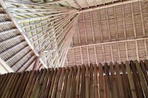 Beautiful handcrafted bamboo roof structure by skilled Balinese bamboo artisans.