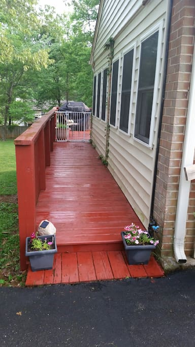 Deck access from the driveway.