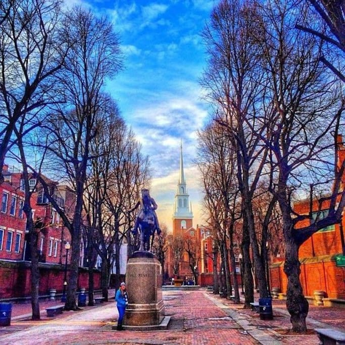 Paul Revere Mall with the Old North Church in the background