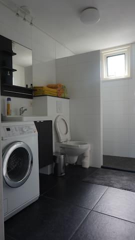 Badkamer met inloopdouche wastafel, WC en wasmachine
