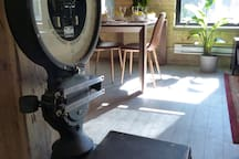 Just for fun... An old Luggage scale salvaged from a local hotel adds authenticity to the character of the loft.