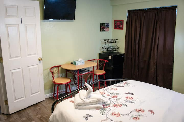 Private bedroom Comfortable bed Amenities galore
