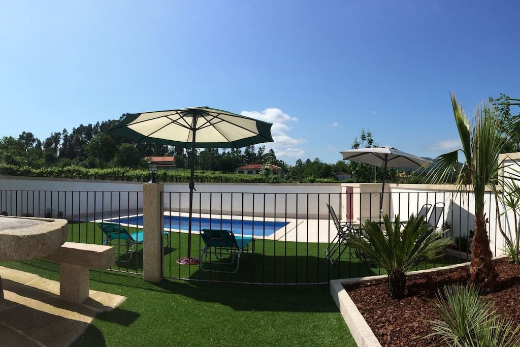 Outside pool area (with children safe fence)