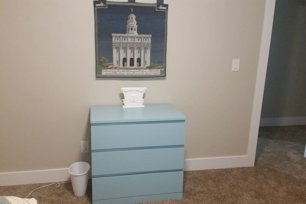 Dresser for your stuff and a large closet