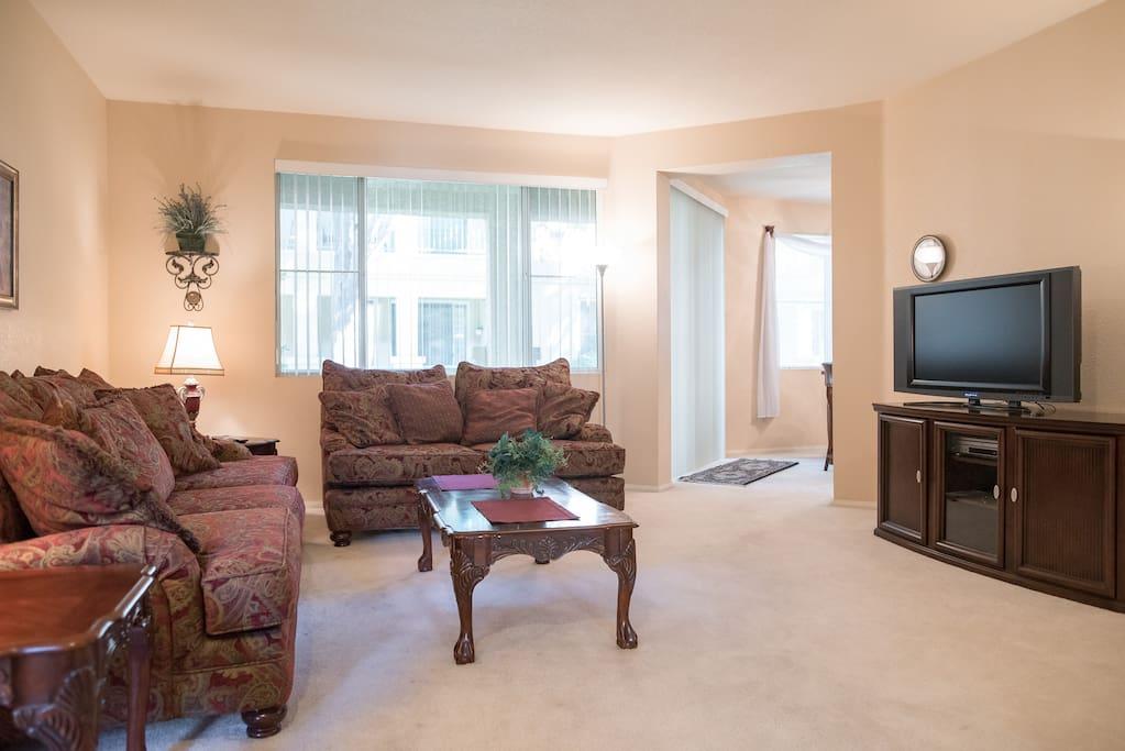 spacious living room  smart tv