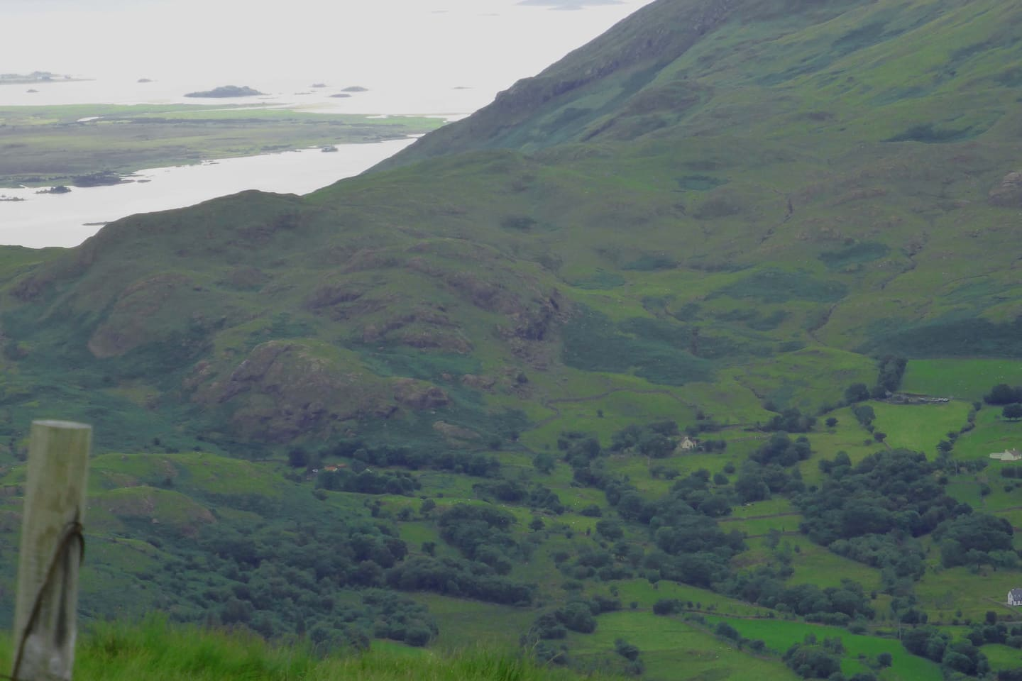 View of cottage and landscape from Ben Beg