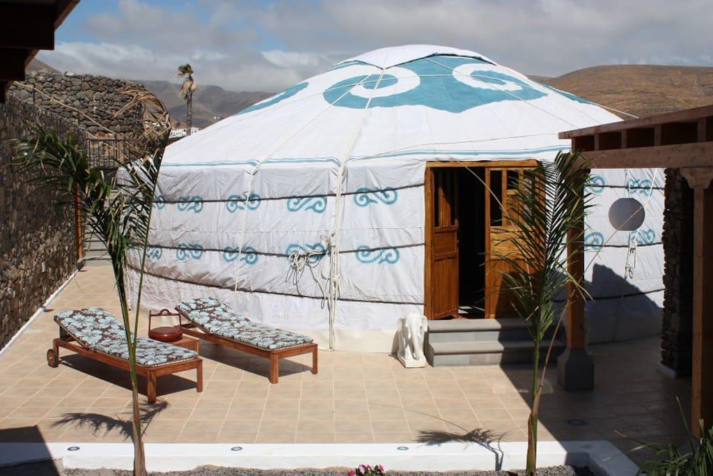 Eco Yurt Royale the largest yurt at Finca De Arrieta with 10mt  diameter