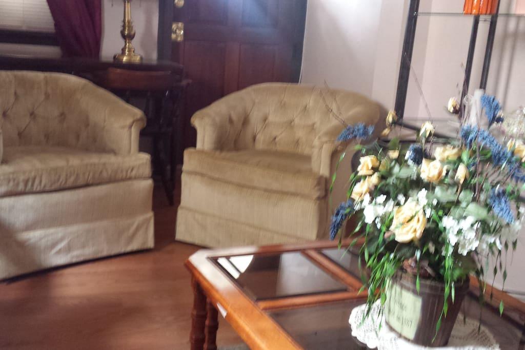 Spacious, cozy, comfy, living room area