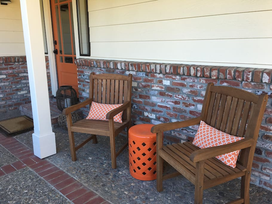 Front door and sitting area to look out at the Sonoma Mtn range