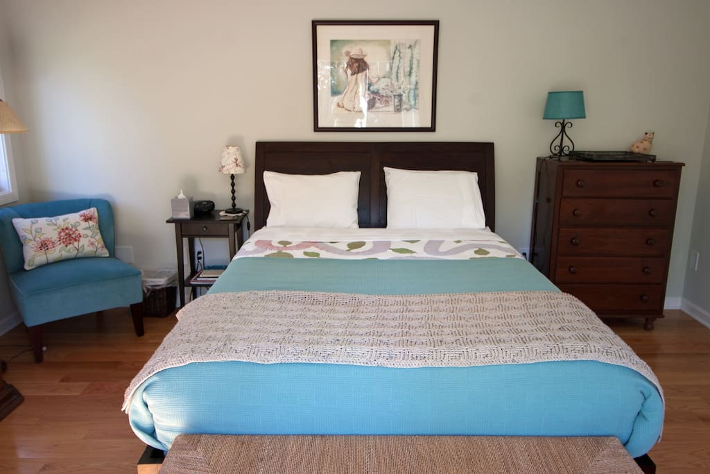 The bed is a queen size (large two person) bed.