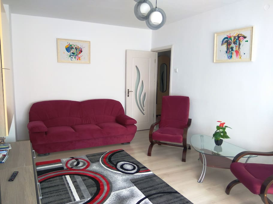 """Bedroom1 (""""sufragerie"""") - 2 relaxing chairs & 2 home made paintings with nice dogs :)"""