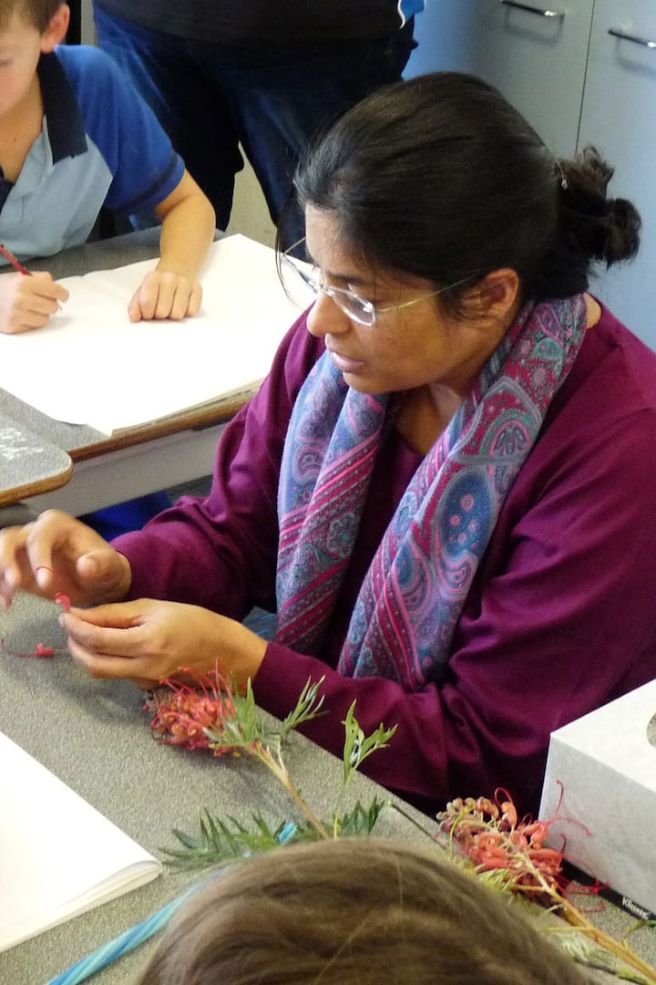 Tanya showing how to dissect a flower