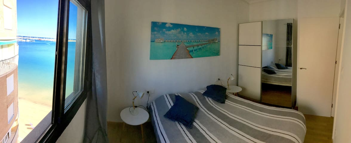 The main bedroom with two beds which can be attached into a double bed