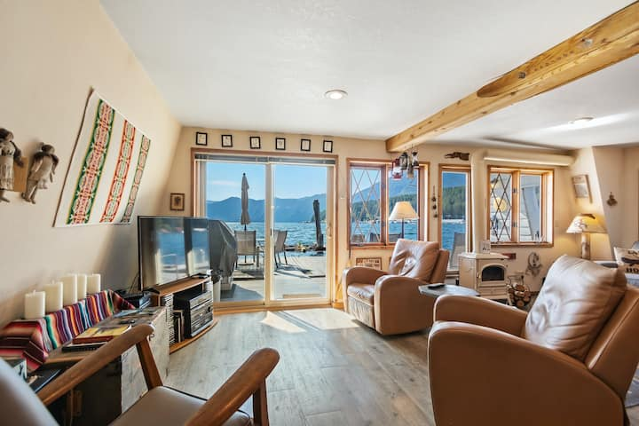 New listing! Incredible lakefront floating home w/lake & mountain views