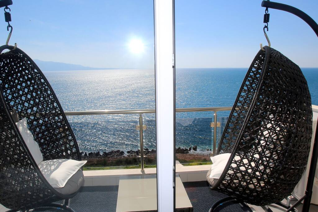 furnished seafront balcony - time to relax