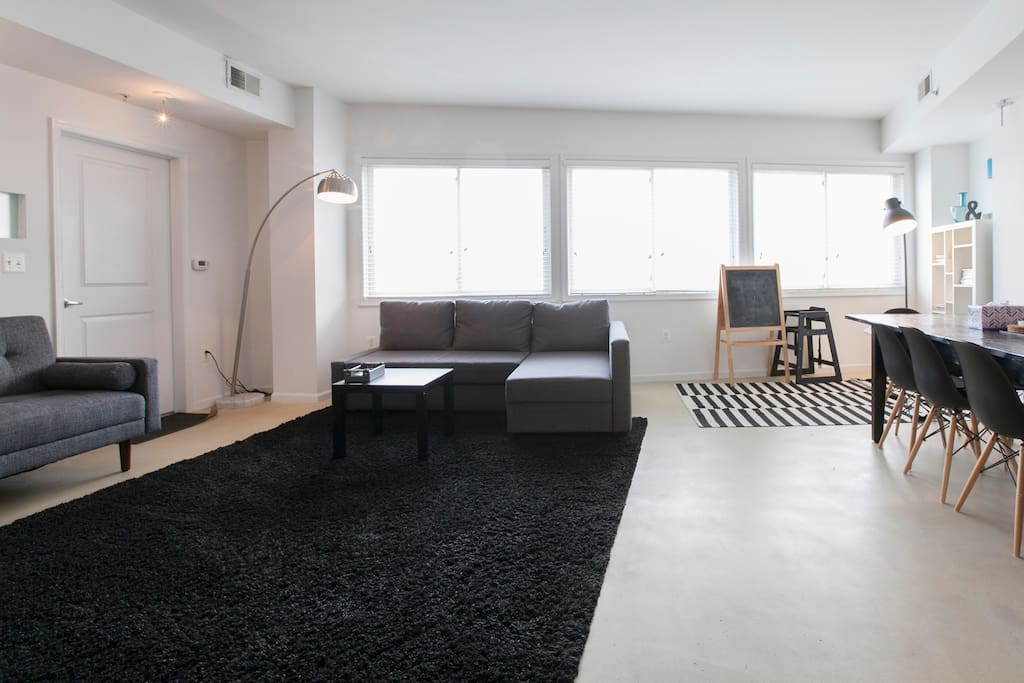 Bright lit and filled with natural light living room overlooking Adams Morgan