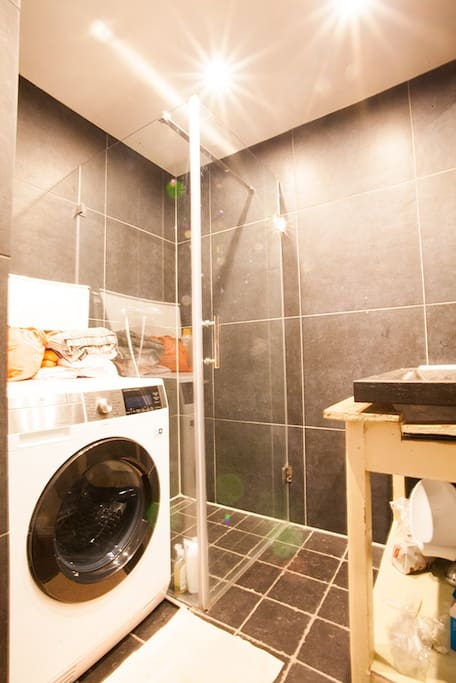 Bathroom with wide shower (80x80 cm) and Washer/Dryer.
