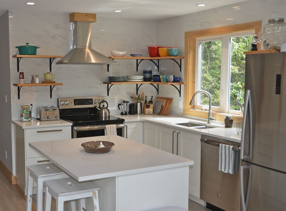 Very bright kitchen with an open concept design.