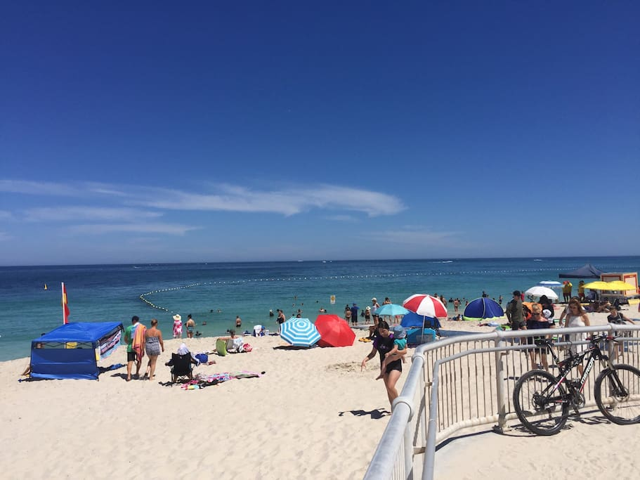 Our beach - Quinns Beach with newly installed shark net / swimming barrier