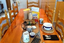 Breakfast is offered comprising tea, coffee, orange juice, cereal and toast and jam/marmalade. This is available between 7am and 9am or can be laid out to help yourself if you need to leave earlier.