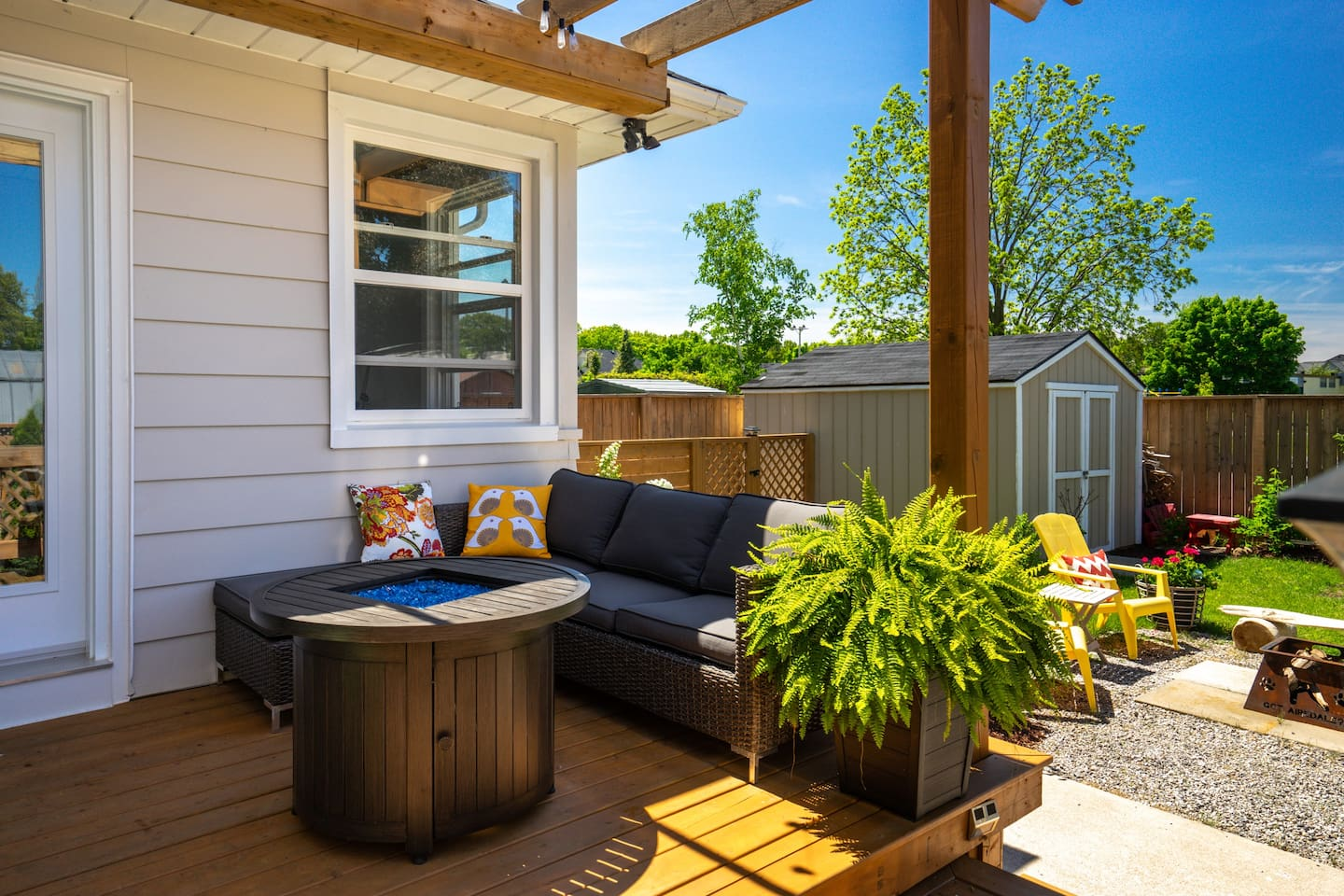 Private deck with propaine fireplace to relax under the stars or enjoy the sun during the day.