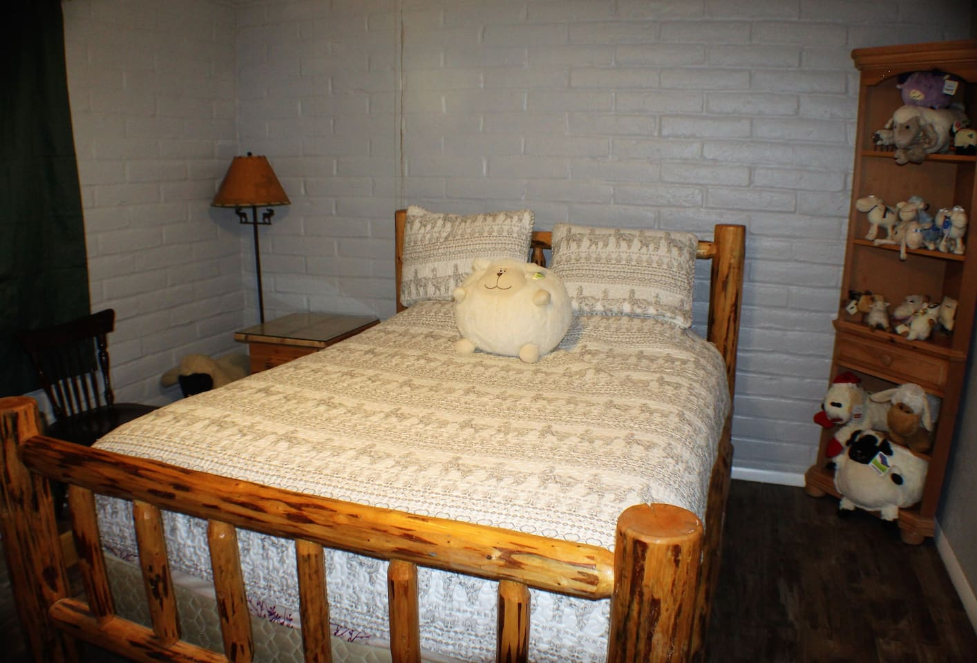 Super comfortable queen size bed.  AKA the sheep room.