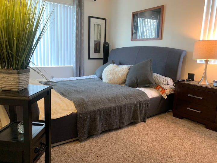Spacious 1 BR plus Den Retreat with private patio