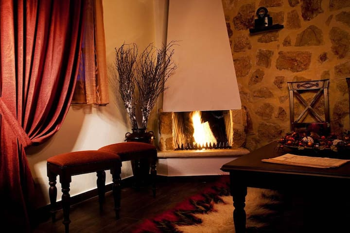 Living room with fireplace downstairs