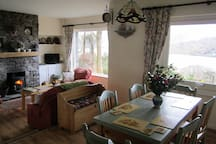 The open plan lounge, kitchen, dining area