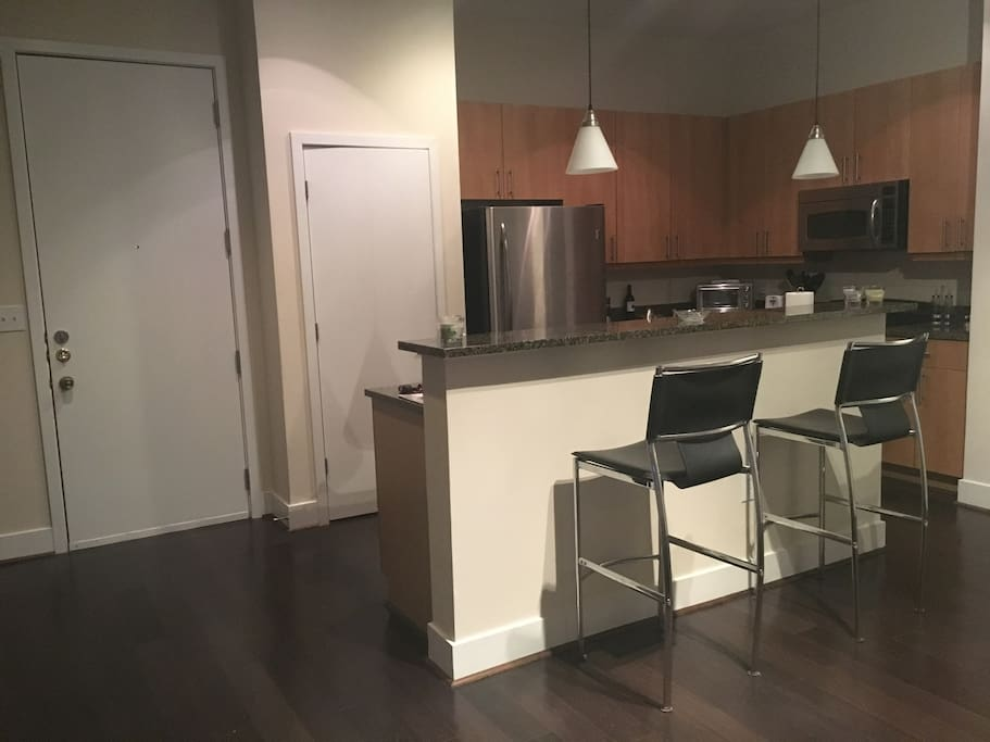 Fully-equipped kitchen with modern stainless steel appliances (toaster oven, microwave, nutri-bullet, mixologist tools, etc.)