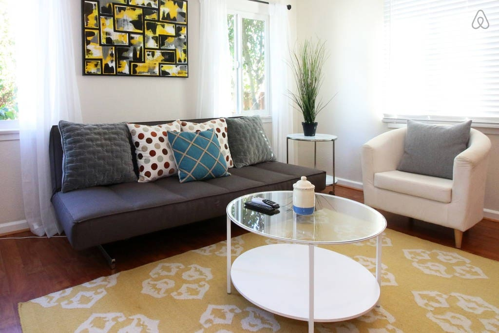Bright, artistic living space...