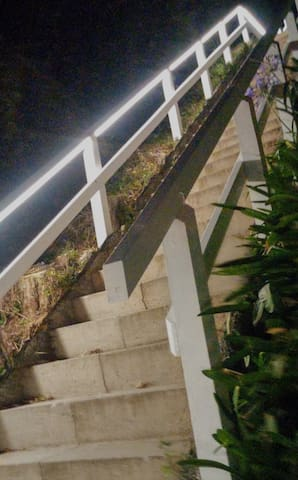 About 60 steep but very well illuminated and safe steps lead up to the place.