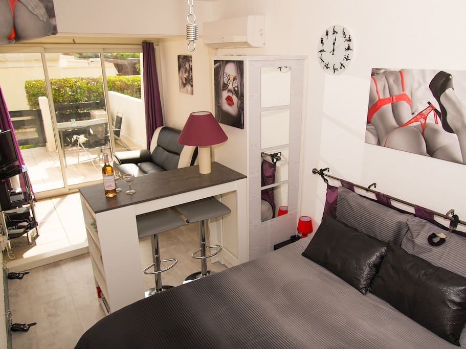Real double bed and separate sofa