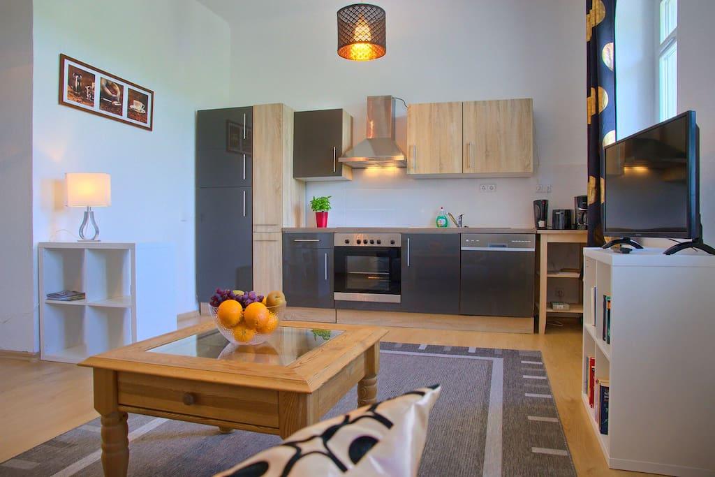 Blick vom Sofa zur Küche inkl. Herd, Ofen, Spülmaschine.