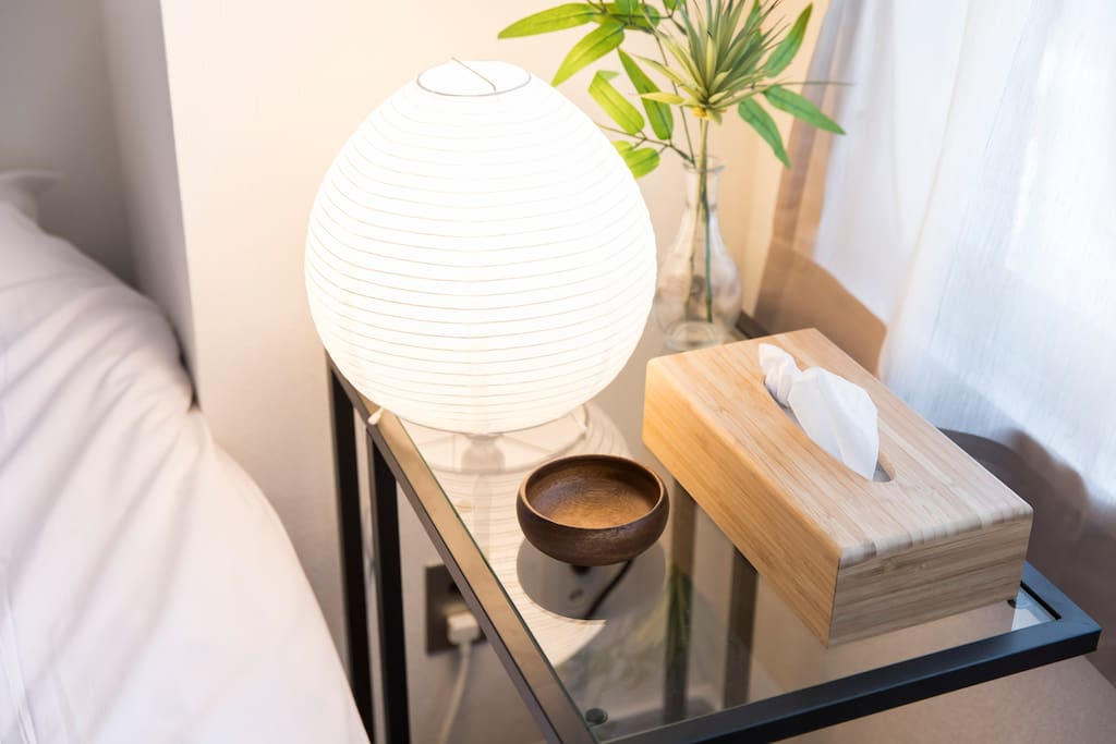 side table by the bed